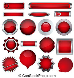 set of red buttons