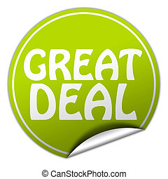 great deal round green sticker on white background