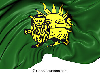 Flag of Safavid Dynasty. Close Up.