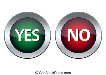 web button with the words yes and no