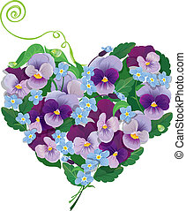 Heart shape is made of beautiful flowers - pansy and forget...