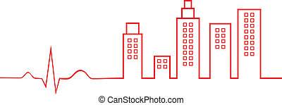 Electrocardiogram City Life Concept Vector Illustration