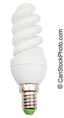 energy-saving helical fluorescent lamp on white background
