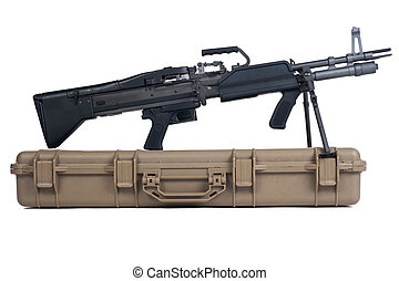 Machine gun box Soft Secure Storage Case isolated