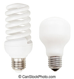 incandescent and helical fluorescent light bulbs - two lamps...