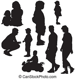 Family Silhouettes - Black Illustrations, Vector