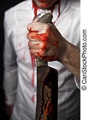 hombre, Manos, cuchillo, tenencia, sangriento