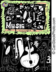 Doodle music isolated on black