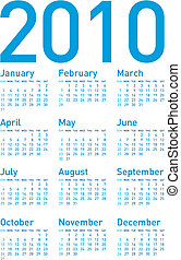Simple Calendar 2010 - Simple Blue Calendar for year 2010,...