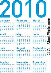 Simple Calendar 2010 - Simple Blue Calendar for year 2010,...
