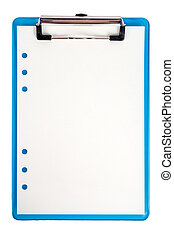 Blue clipboard and paper isolated