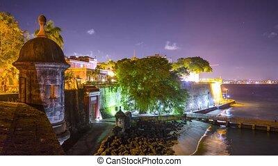 San Juan, Puerto Rico nighttime at Paseo De la Princessa