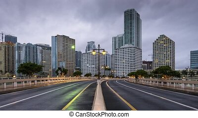 Miami at Brickell Key - Miami, Florida morning cityscape at...