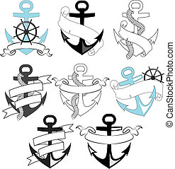 set of sea anchors for vector