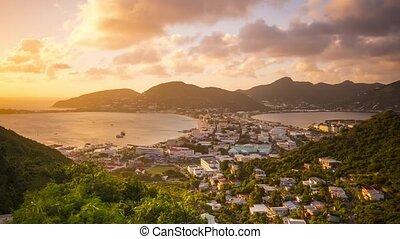 Philipsburg, Sint Maarten, Netherland Antilles cityscape at...