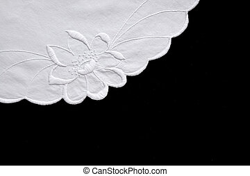embroidered flower - embroidered white flower on fabric with...