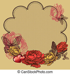Background with blooming roses, lace napkin and butterflies. Vector illustration.