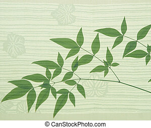 heavenly bamboo on an Asian leaf motif background