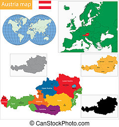 Austria ma - Colorful Austria map with states and main...