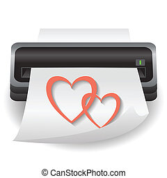two hearts - colorful illustration with two hearts cup for...