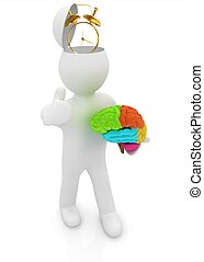 3d people - man with half head, brain and trumb up Time...
