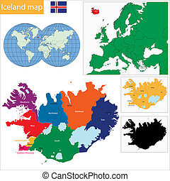 Iceland map - Map of administrative divisions of Republic of...