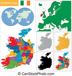 Ireland map - Map of administrative divisions of Ireland
