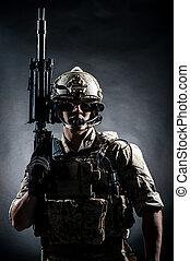 estilo, Moda, arma de fuego, máquina, soldado, Asimiento,...