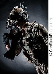 soldier man hold Machine gun style fashion - soldier man...