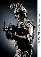 soldier man hold Machine gun style fashion - soldier man...