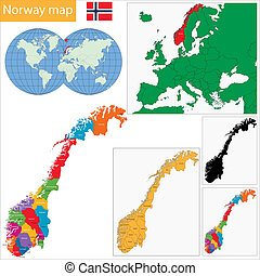 Norway map - Administrative division of the Kingdom of...
