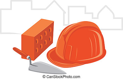 Trowel with brick and safety helmet. Icon for design. Vector...