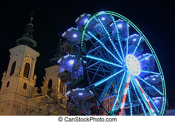Ferris wheel at night in Graz Austria