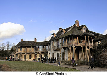 the park of the castle of Versailles - Queens Hamlet in the...