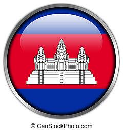 Cambodia Flag glossy button