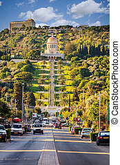 Bahai Gardens - A view to the Hanging Gardens of Haifa on...