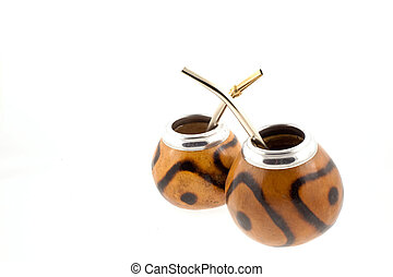 couple of mate cups on a white background