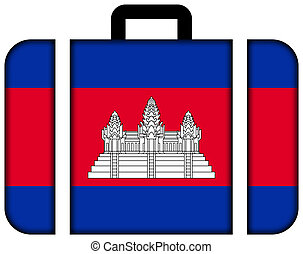 Suitcase with Cambodia Flag