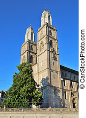 Zurich. Grossmunster - Switzerland. Very famous Cathedral in...
