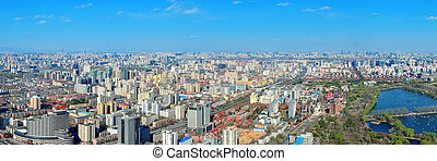 Beijing aerial view - Beijing city aerial view with urban...