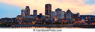 Montreal over river at dusk - Montreal over river panorama...