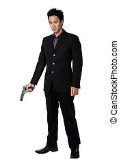 business man Hold gun isolated - business man Hold gun...
