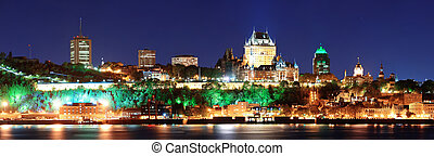 Quebec City at night - Quebec City skyline panorama at dusk...