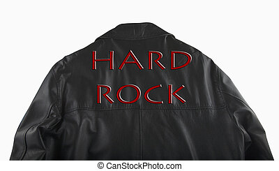 Hard rock text over the shoulders of a leather jacket