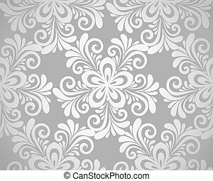 excellent seamless floral background with flowers in silver.