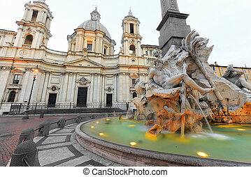 Piazza Navona - Fountain of Navona Square in Rome