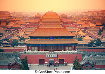 Imperial Palace Beijing - Aerial view of Imperial Palace in...