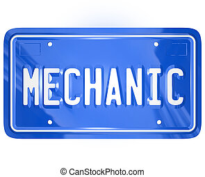 Mechanic Word Vanity License Plate Auto Repair Shop Garage -...