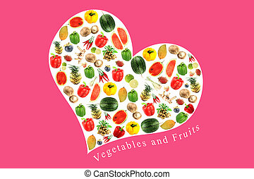 Vegetables and fruits in white heart on Pink Background.