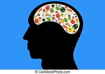 Vegetables and fruits in Head on Blue Background. -...